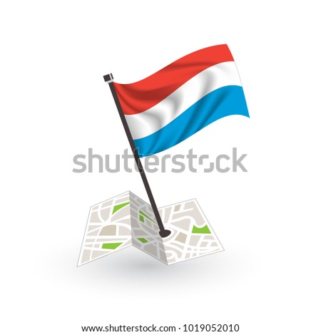 Map with flag of Luxembourg isolated on white. National flag for country of Luxembourg isolated, banner for your web site design logo, app, UI. check in. map Vector illustration, EPS10.