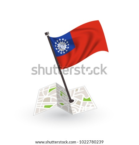 Map with flag of Myanmar isolated on white. National flag for country of Myanmar isolated, banner for your web site design logo, app, UI. check in. map Vector illustration, EPS10.