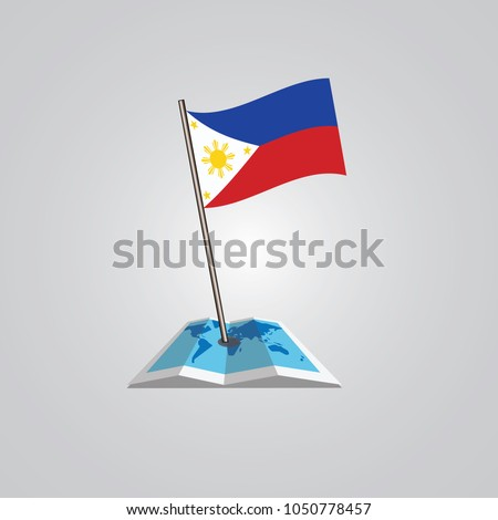map with flag of  philippine