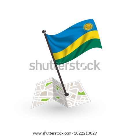 Map with flag of Rwanda isolated on white. National flag for country of Rwanda isolated, banner for your web site design logo, app, UI. check in. map Vector illustration, EPS10.