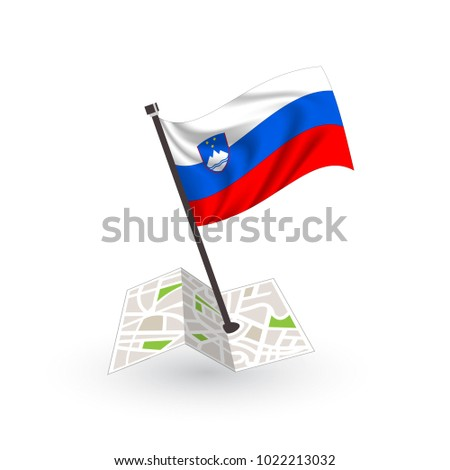 Map with flag of Slovenia isolated on white. National flag for country of Slovenia isolated, banner for your web site design logo, app, UI. check in. map Vector illustration, EPS10.