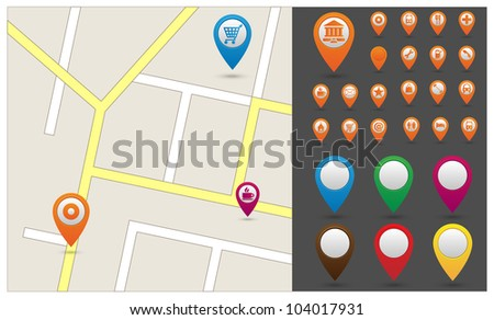 Map with Gps Icons - stock vector