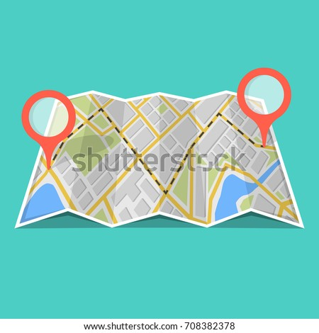Map with GPS navigation and points on it. Finding the way concept. Vector illustration. #708382378