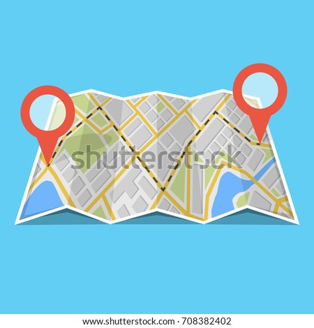 Map with GPS navigation and points on it. Finding the way concept. Vector illustration. #708382402
