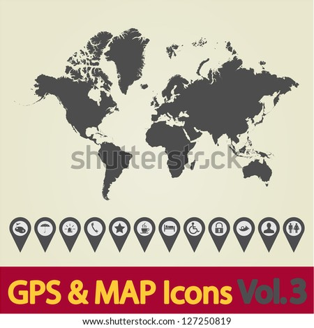 Map with Navigation Icons. Vol. 3. Vector illustration.