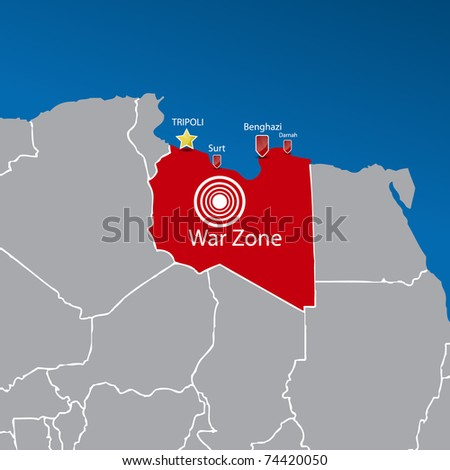 Map with part of Africa | Libya war zone. Vector illustration.