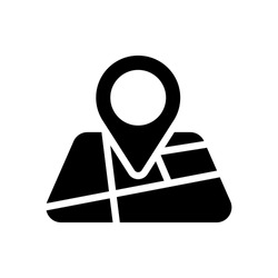 Map with pin, geo locate, pointer icon. Black icon on white background