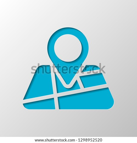 Map with pin, geo locate, pointer icon. Paper design. Cutted symbol with shadow