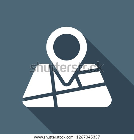 Map with pin, geo locate, pointer icon. White flat icon with long shadow on blue background