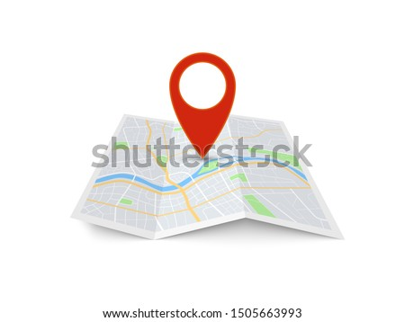 Map with pin. Red direction pointer on folded city map, gps navigation and travel location vector position search sticker 3d icon