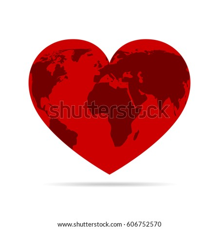 map world on red heart globe