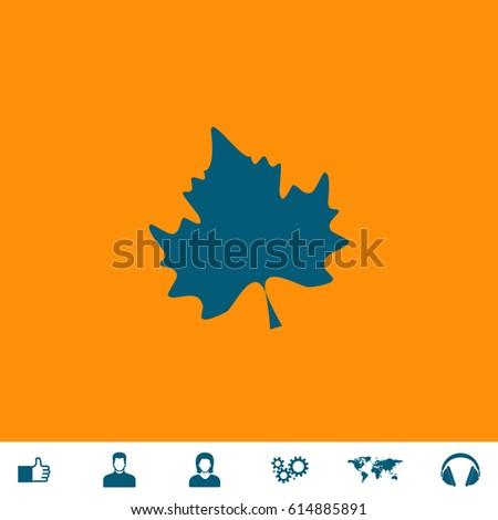 maple leaf blue symbol icon on