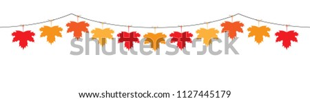 maple leaf garland in orange and red colors for autumn seasson vector isolated on white background #1127445179