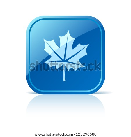 Maple leaf icon on blue square button