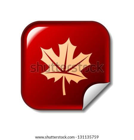maple leaf icon on red sticker