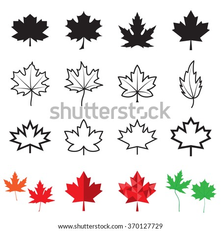 Stock Photo Maple leaf icons. Vector illustration