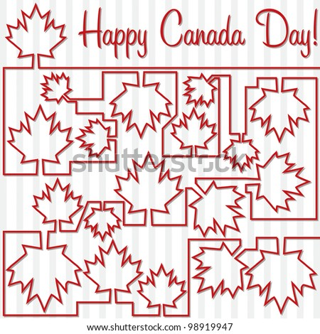 Maple leaf maze 'Happy Canada Day' card in vector format.