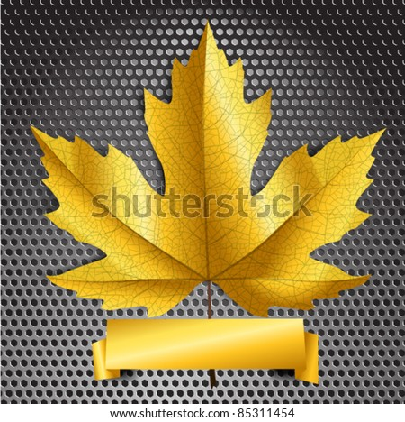 Maple leave with golden banner. Ready for a text - stock vector