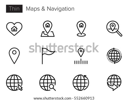 Maps and Navigation Interface Line Vector icons set Stock fotó ©