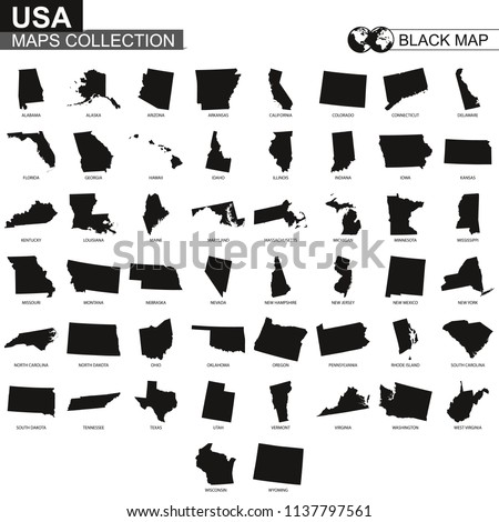 Maps collection of USA states, black contour maps of US state. Vector set.