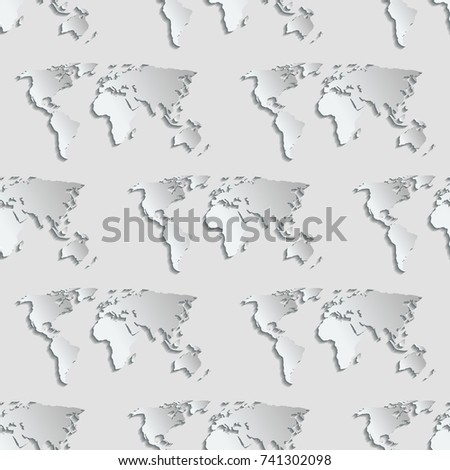 Maps globe Earth contour seamless pattern background silhouette world mapping cartography texture vector illustration #741302098