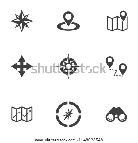 Maps, location, navigation and transportation icons set