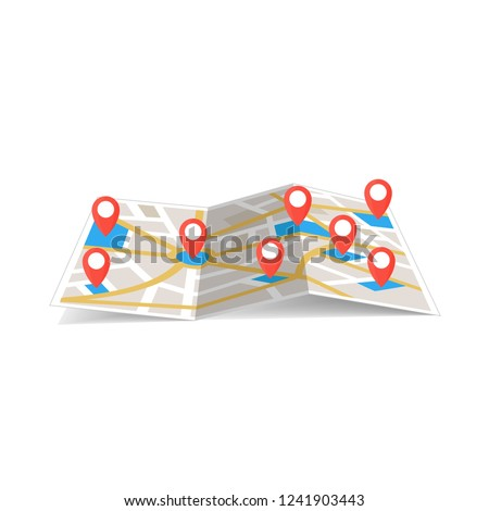 maps navigation with red and blue color point markers and compass design background, vector illustration #1241903443