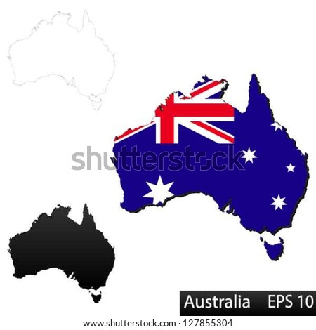 Maps of Australia, 3 dimensional with flag clipped inside borders,and shadow, and black and white contours of country shape, vector - stock vector