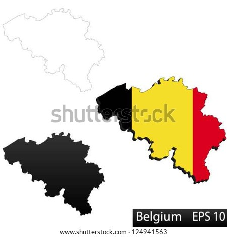 Maps of Belgium, 3 dimensional with flag clipped inside borders,and shadow, and black and white contours of country shape, vector