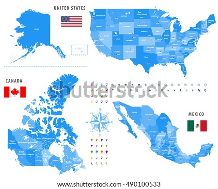 maps of canada united states and mexico with flags and location avigation icons all