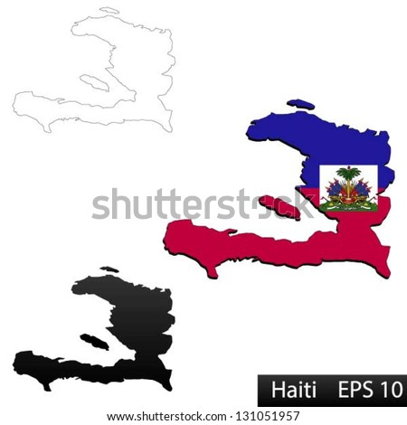 Maps of Haiti, 3 dimensional with flag clipped inside borders,and shadow, and black and white contours of country shape, vector