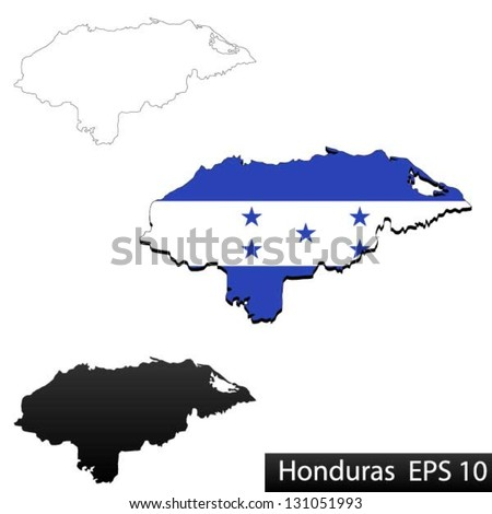 Maps of Honduras, 3 dimensional with flag clipped inside borders,and shadow, and black and white contours of country shape, vector