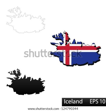 Maps of Iceland, 3 dimensional with flag clipped inside borders,and shadow, and black and white contours of country shape, vector