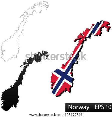 Maps of Norway, 3 dimensional with flag clipped inside borders,and shadow, and black and white contours of country shape, vector
