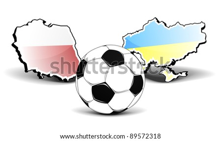 maps of poland and ukraine with a football in front, european football championship 2012, eps8 vector