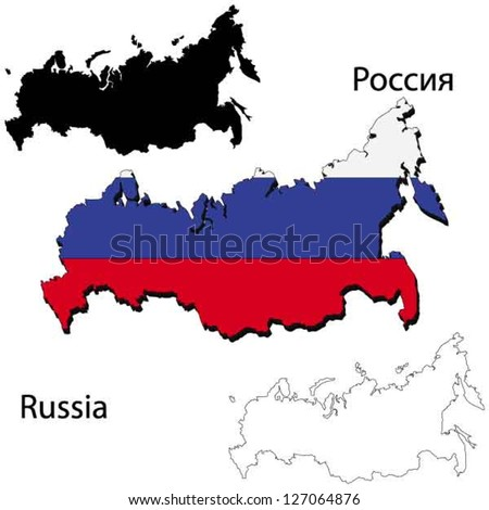 Maps of Russia, 3 dimensional with flag clipped inside borders,and shadow, and black and white contours of country shape, vector