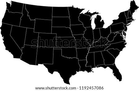 Maps United States Of America Vector Designs Region State Black
