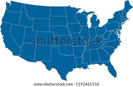 Maps United States Of America Vector Designs Region State Dark Blue