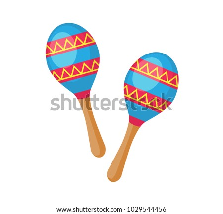 Maracas icon. Vector illustration of blue and red maracas isolated on a white background
