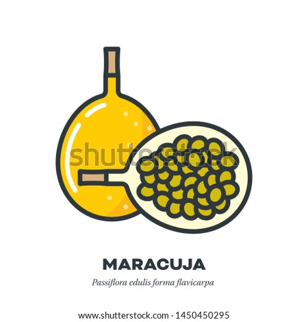 Maracuja passion fruit icon, outline with color fill style vector illustration, whole and half fruit