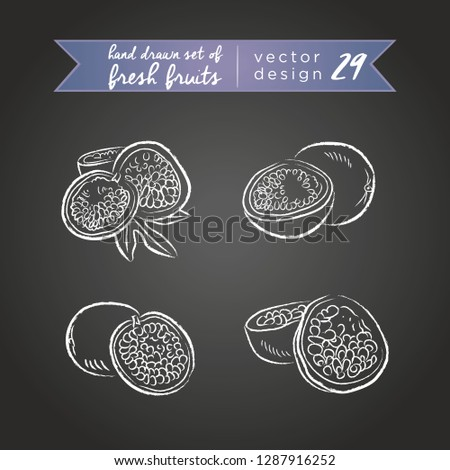 Maracuja. Set of fresh fruits, whole, half and bitten with leaf. Vector illustration. Isolated on blackboard