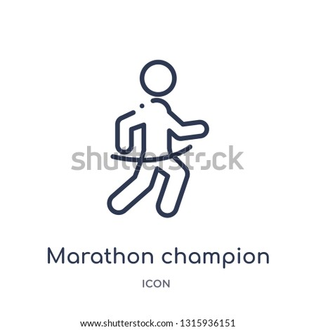 marathon champion icon from sports outline collection. Thin line marathon champion icon isolated on white background.