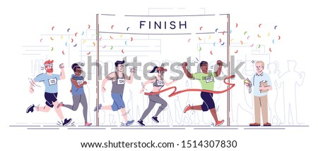 Marathon finish flat vector illustration. City footrace. Runners in final of competition. Endurance contest. Joggers cross finish line isolated cartoon character on white background