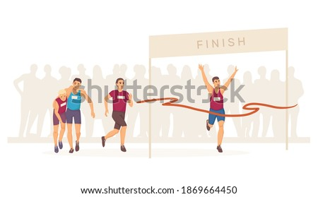 Marathon finish. Group sprinter sportsmen runner on home stretch. Ribbon breaker winner and tired athletes. Joggers winner cross finish line. Winning champion, come first to the finish line concept Foto stock ©