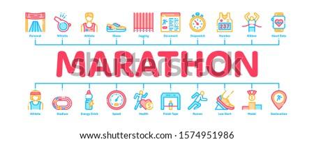Marathon Minimal Infographic Web Banner Vector. Human Athlete Silhouette Running And Uniform, Sport Stadium For Marathon And Shoe Concept Illustrations ストックフォト ©