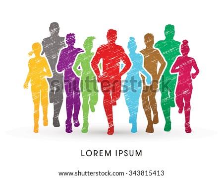 Marathon Runners, designed using colorful grunge brush  graphic vector.