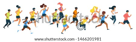 Marathon runners flat vector illustration. Athletes, runners, sportsman with disability cartoon characters. People training for sprint racing, doing sport. Outdoor activity isolated design element