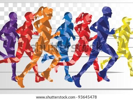 Marathon runners in colorful rainbow landscape background illustration