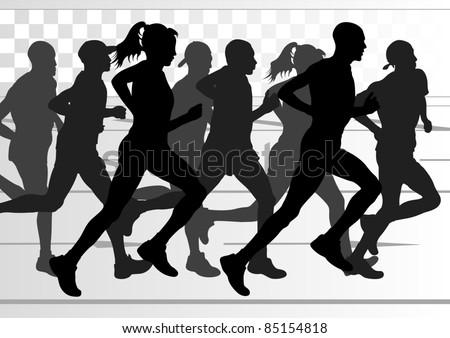 Marathon runners in urban city landscape background illustration