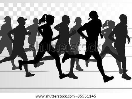 Marathon Runner Logo Marathon Runners in Urban City